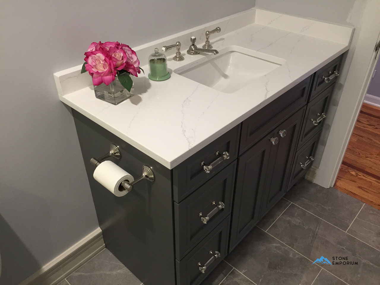 White Bathroom Countertop Chicago